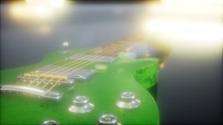 wooden bridge : electric guitar in the dark with bright lights Stock Footage