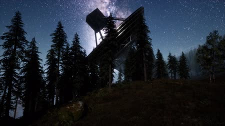 modo : astronomical observatory under the night sky stars. hyperlapse