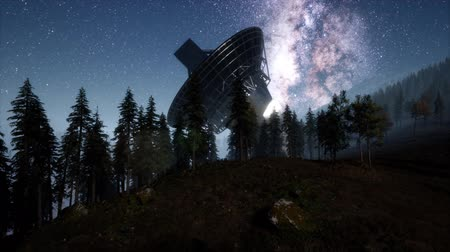купол : astronomical observatory under the night sky stars Стоковые видеозаписи