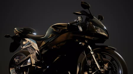 motocykl : moto sport bike in dark studio with bright lights Wideo