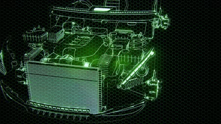 メカニカル : Holographic animation of 3D wireframe car model with engine