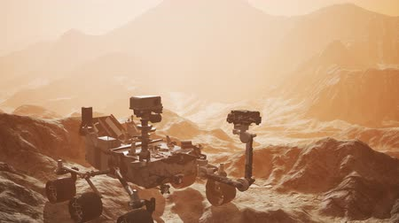 siding : Curiosity Mars space exploration vehicle exploring the surface of red planet Stock Footage