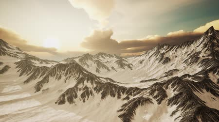 kazahsztán : Panorama of High Snow Mountains at Sunset
