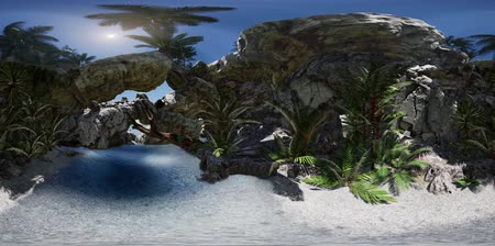 grotto : VR 360 cave paradise blue sea and sky. paradise on beach tropical island