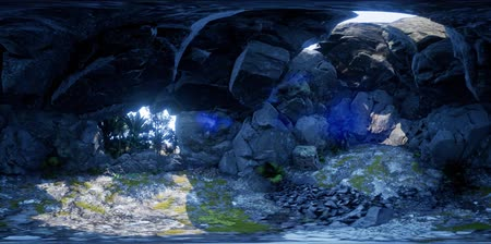 seacave : vr 360 camera moving inside tropical cave in jungle with palms and sun light. VR