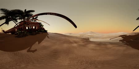 cabins : VR360 old rusted military helicopter in the desert at sunset