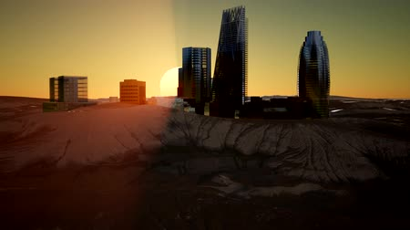 megragad : city skyscrapes in desert at sunset