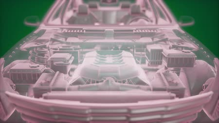 complexidade : Holographic animation of 3D wireframe car model with engine