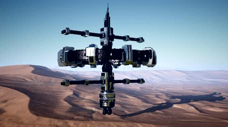disparition : alien spaceship rotate over desert. ufo Vidéos Libres De Droits