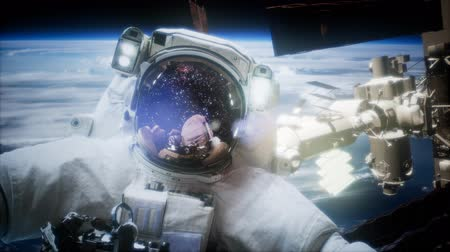 andromeda : Astronaut at spacewalk. Stock Footage