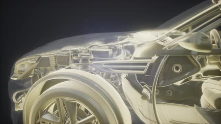 rama obrazu : Holographic animation of 3D wireframe car model with engine