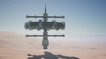 Марс : alien spaceship rotate over desert. ufo Стоковые видеозаписи