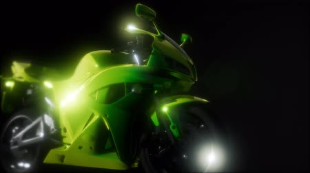 equipped : moto sport bike in dark studio with bright lights Stock Footage