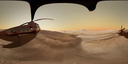 destruído : VR360 old rusted military helicopter in the desert at sunset