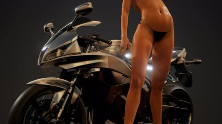 настройка : Young woman posing with motorbike Стоковые видеозаписи