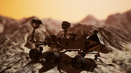 siding : Curiosity Mars Rover exploring the surface of red planet Stock Footage