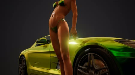 calcinhas : Young sexy woman posing in bikini by metallic sport car