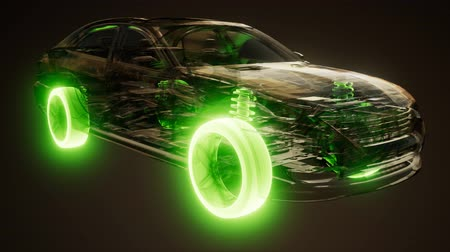 brake : Car Wheels Glowing in Car Stock Footage