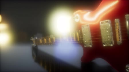 ピックアップ : electric guitar in the dark with bright lights 動画素材