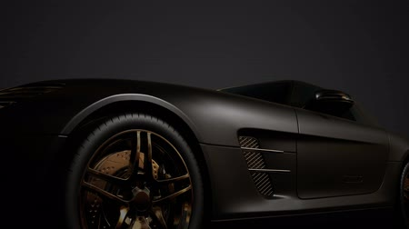melez : luxury sport car in dark studio with bright lights