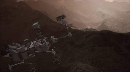 siding : Curiosity space exploration vehicle exploring the surface of red planet Stock Footage