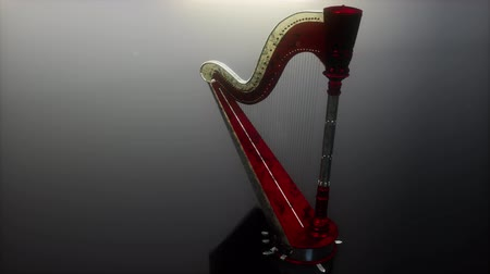 akusztikus : Loop Harp Instrument on Gray Stock mozgókép