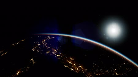 hemisfério : Space, Sun and planet Earth at Night