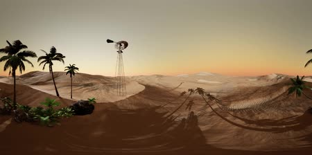 szélmalom : vr 360 camera moving above desert. ready for use in vr360 virtual reality