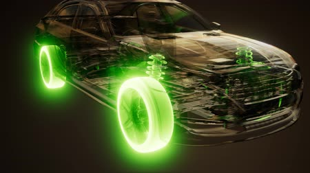 aro : Car Wheels Glowing in Car Stock Footage