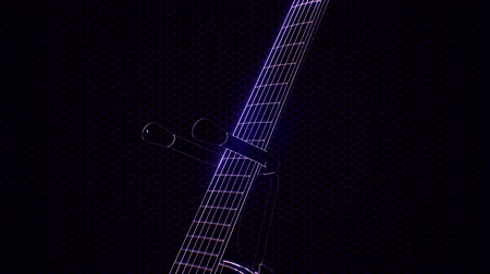 hangszeres : electric guitar in the hologram with bright lights