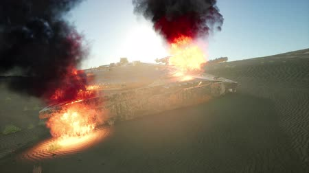 asker : burned tank in the desert at sunset