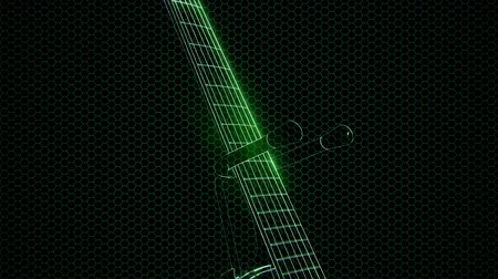 tyč : electric guitar in the hologram with bright lights
