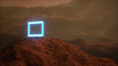 tempestade : Neon Portal on Mars Planet Surface With Dust Blowing Vídeos