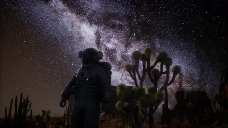 starry sky : Astronaut and Star Milky Way Formation in Death Valley Stock Footage
