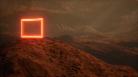 Марс : Neon Portal on Mars Planet Surface With Dust Blowing Стоковые видеозаписи