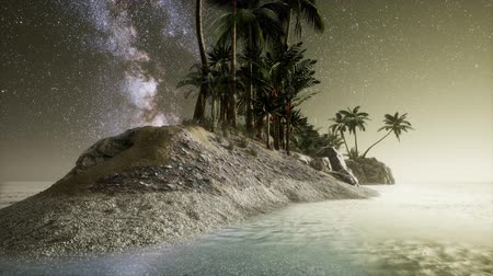dark island : Beautiful fantasy tropical beach with Milky Way star in night skies