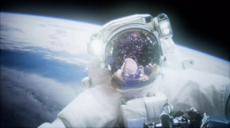 spaceship : Astronaut at spacewalk. Stock Footage