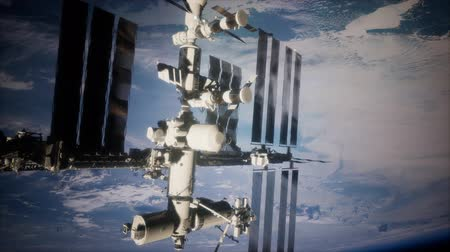 hajórakomány : Earth and outer space station iss Stock mozgókép
