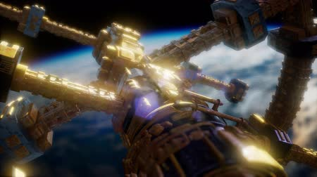 rockets : Earth and Spacecraft. space ship over the earth Stock Footage