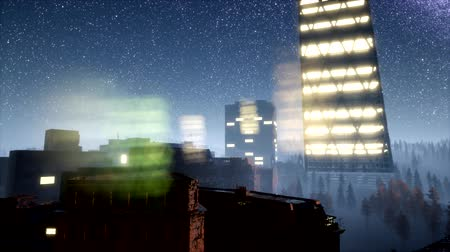 ミッドタウン : city skyscrapes at night with Milky Way stars
