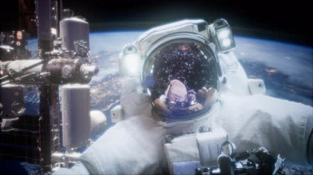 Марс : Astronaut at spacewalk. Elements of this image furnished by NASA Стоковые видеозаписи