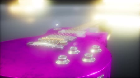 oco : electric guitar in the dark with bright lights Stock Footage
