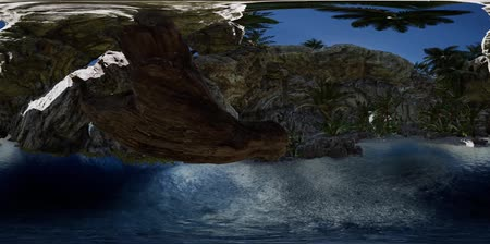grado : VR 360 cave paradise blue sea and sky. paradise on beach tropical island