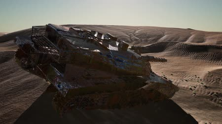 golyó : Militairy tanks destructed in the desert at sunset