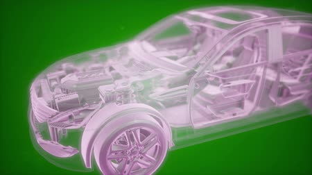 embreagem : Holographic animation of 3D wireframe car model with engine