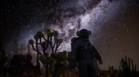 dead valley : Astronaut and Star Milky Way Formation in Death Valley Stock Footage