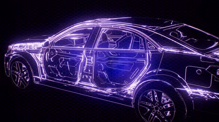 combustão : Holographic animation of 3D wireframe car model with engine