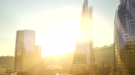 midtown manhattan : city skyscrapes with lense flairs at sunset Stock Footage