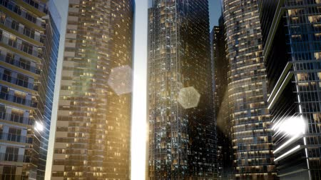 estilizado : City Skyscrapers at Sunset Stock Footage