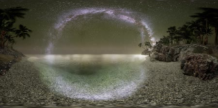 starry sky : VR 360 Beautiful fantasy tropical beach with Milky Way star in night skies